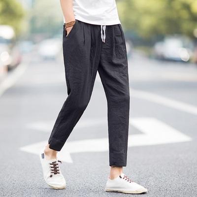 Quần linen nam quần âu phong cách Trung Quốc xu hướng mùa hè feet quần Hàn Quốc phiên bản 9 chín quần nam quần cotton nam Quần mỏng