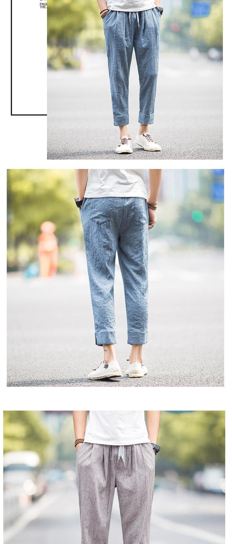 Quần linen nam quần âu phong cách Trung Quốc xu hướng mùa hè feet quần Hàn Quốc phiên bản 9 chín quần nam quần cotton nam