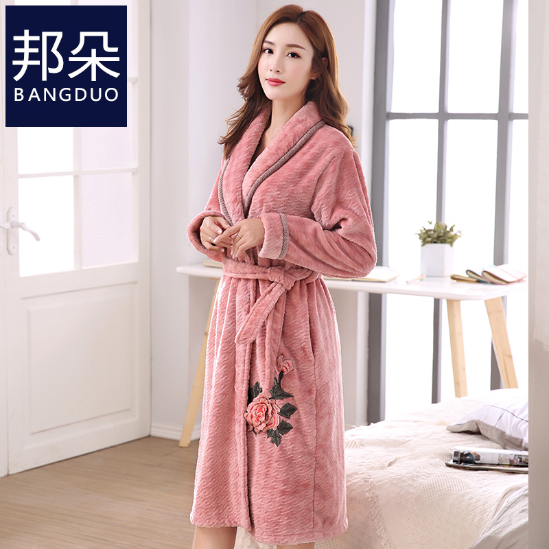 Nightgown female Winter coral velvet thickening plus cashmere autumn and  winter models ladies plus long middle bc1fc8c7e4b0