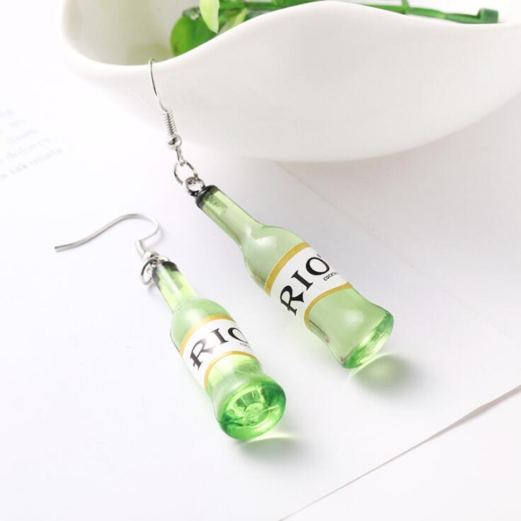WHITE GREEN BOTTLE EARRINGS