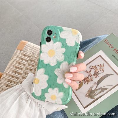 油画雏菊适用iPhone11promax手机壳XR苹果SE2少女Xs小清新7/8Plus