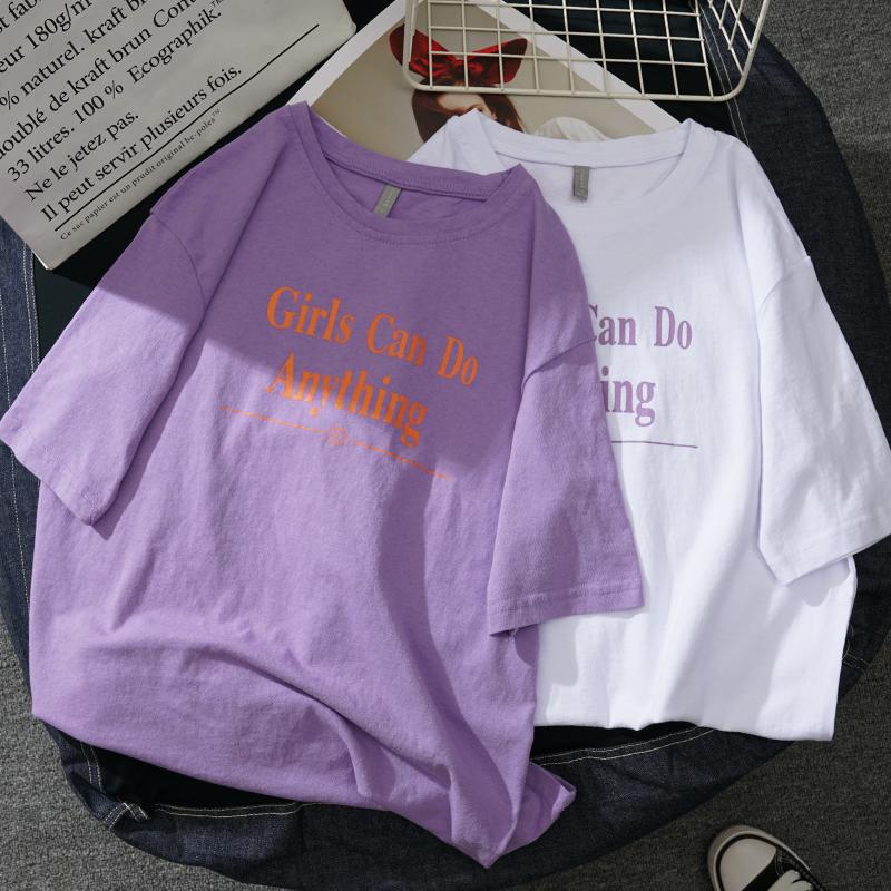 夏装新款紫色t恤女2018短袖上衣韩版宽松ulzzang学生半袖体恤韩范