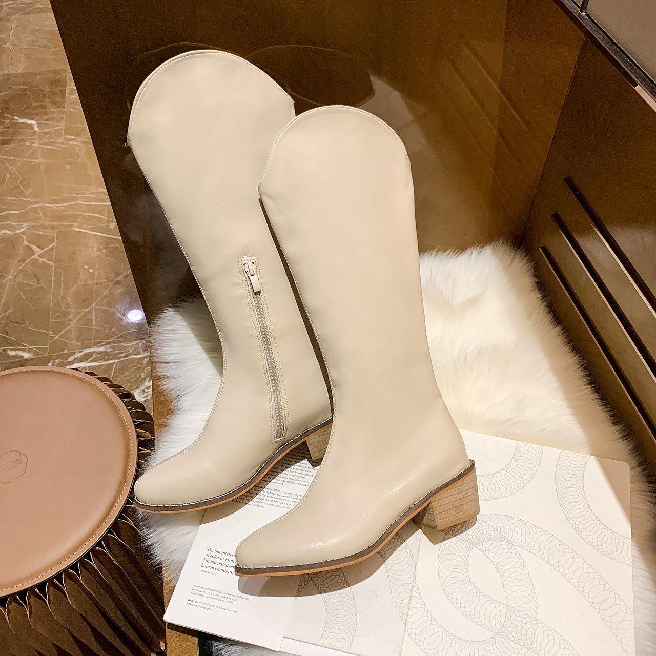 复古尖头西部靴不过膝2020秋季新款韩版高筒靴网红百搭显瘦骑士靴