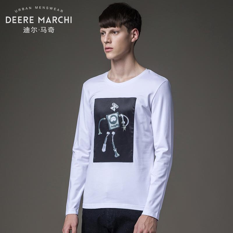 Dilmaqi mùa xuân 3D in patch Slim dài tay T-Shirt nam đáy áo sơ mi tops mất M07553