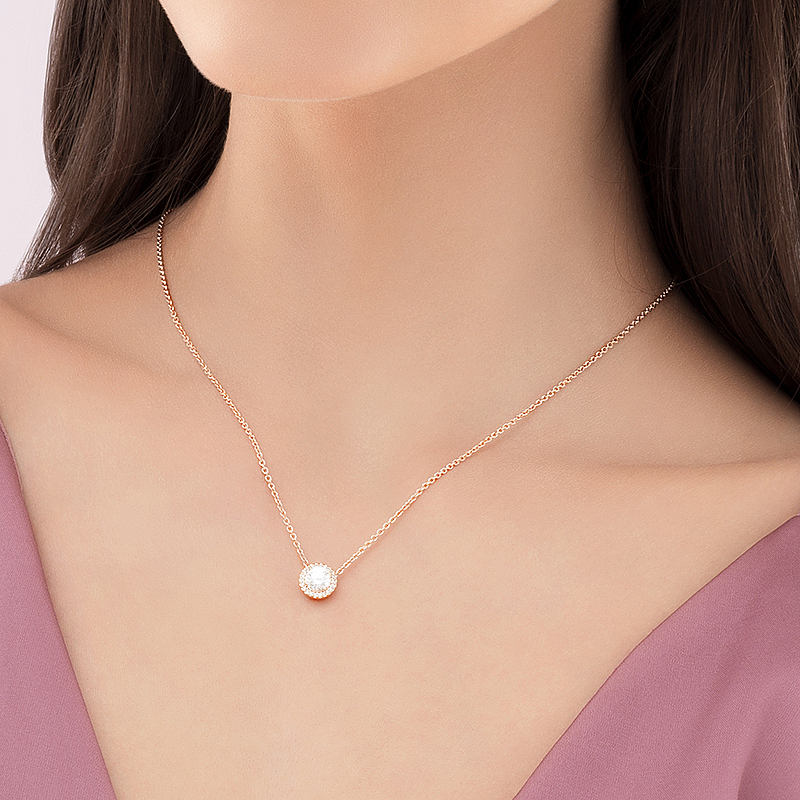 925 Silver Rose red Strawberry Pendant Female Clavicle Chain Simple Pendant