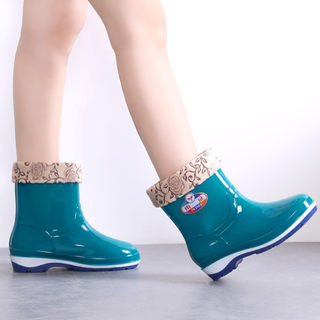 Rain boots women's outer wear short tube in tube rain boots ladies fashion style plus cotton non-slip low-top Korean waterproof rubber shoes water shoes