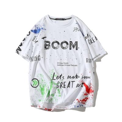 2021年夏季新款印花短袖T恤男士潮流潮牌宽松打底衫上衣薄款夏装的图片来自淘券快报,领券宝