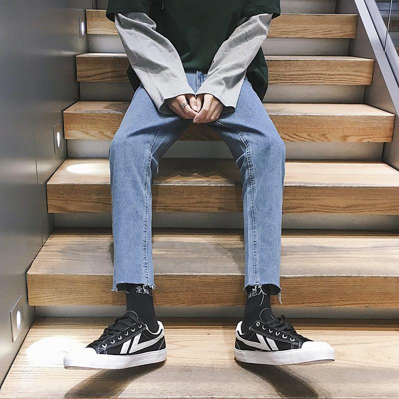 夏季薄款港风男生九分牛仔裤男潮牌宽松直筒裤子韩版潮流百搭9分