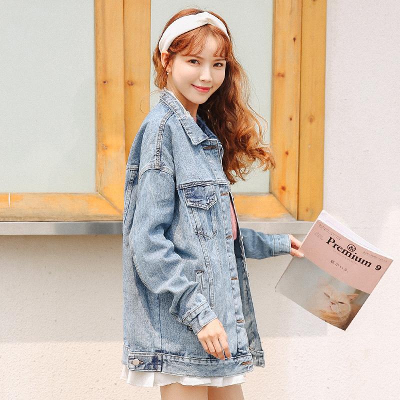 春秋季中长款牛仔外套女装宽松学生韩版bf原宿风显瘦长袖牛仔衣潮