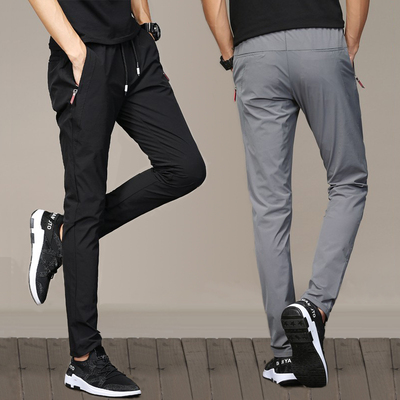 Quần nam mùa hè phần mỏng quần âu nam Hàn Quốc phiên bản của xu hướng thể thao quần Slim đàn hồi ban nhạc quần đen khô nhanh quần