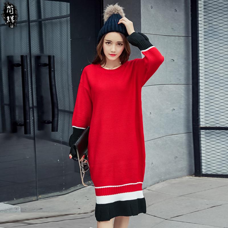 冬装新款胖MM加肥加大码中长款过膝连衣裙显瘦百搭圆领羊绒打底衫