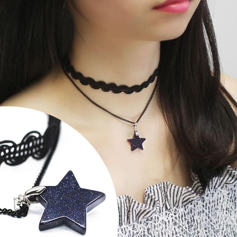 简约双层波浪蕾丝星星颈链项圈 韩版女短款锁骨链项链 复古脖子链
