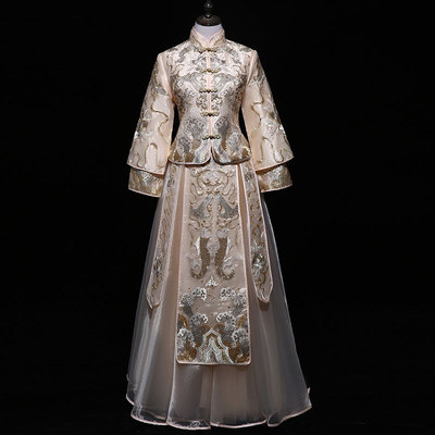 Chinese Wedding Dresses for Brides in Show Wo Garment, Bride Dresses for Wedding Ceremony Show and Kimono