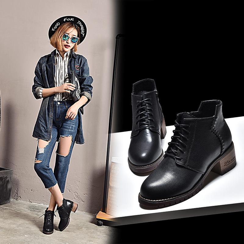妙钻秋冬系带马丁靴粗跟英伦风短靴