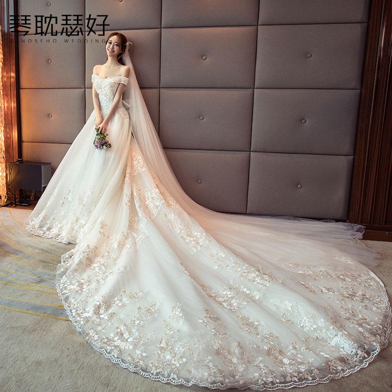 USD 268.55] Shoulder wedding 2018 new Korean style skinny bride ...