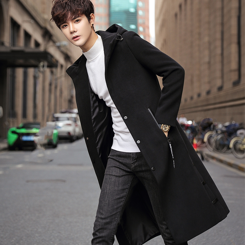 Windbreaker men's long paragraph knee Korean version of the woolen coat 2019 spring and Autumn Winter new trend handsome longer woolen jacket