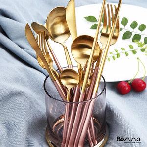北欧风粉间金色不锈钢牛排刀叉西餐具套装创意家用西式汤勺甜品叉