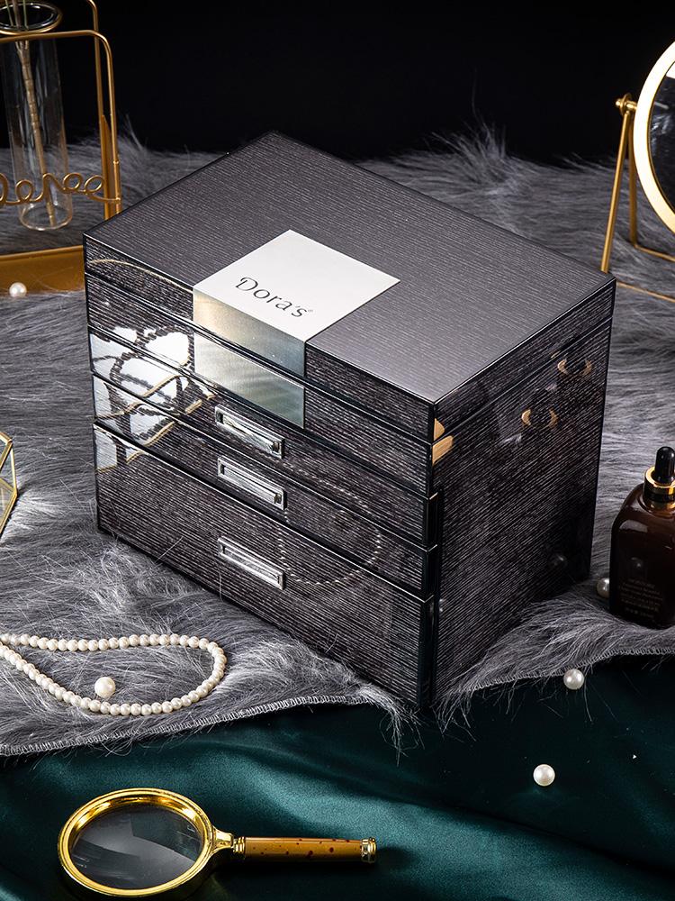 Jewelry box High-grade multi-layer luxury ring earrings Wedding large capacity jewelry watch packing storage box gift