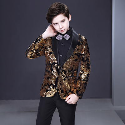 Boy's jazz dance sequin coats chorus host singer performance jacket blazers Boys suit children dress show handsome British flower boys suit