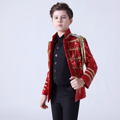 Boy's jazz dance sequin coats chorus host singer performance jacket blazers Boy dress stand collar suit suit children model show fashion suit