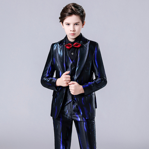 Boy dress suit British suit children's singer host performance suit Little boy hostess costume kids model catwalk clothes
