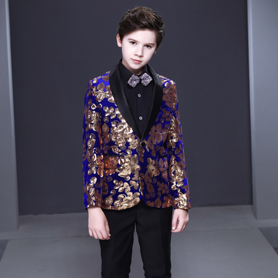 Boy's jazz dance sequin coats chorus host singer performance jacket blazers Children suit suit boys dress