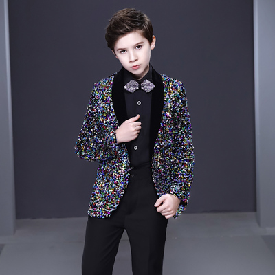Boy's jazz dance sequin coats chorus host singer performance jacket blazers Children suit and boys dress show Korean Sequin Flower children suit