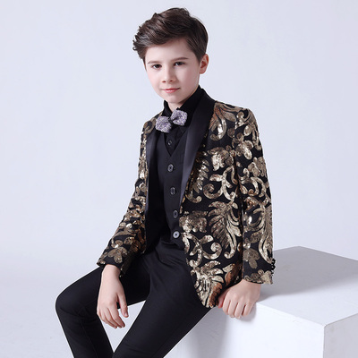 Boy's jazz dance sequin coats chorus host singer performance jacket blazers Children suit Blazer suit boy British three piece small host costume show suit