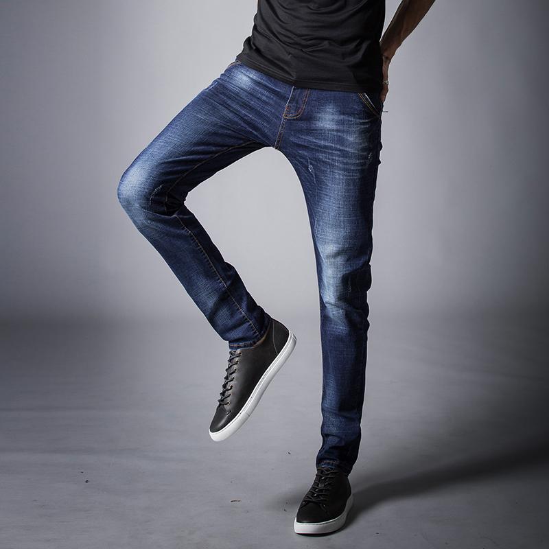 韩版时尚牛仔裤男夏季薄款弹力青年男装休闲男士修身小脚潮流长裤