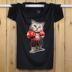 Mùa hè nam in cotton ngắn tay T-Shirt cộng với phân bón XL vòng cổ áo sơ mi lỏng thể thao chất béo nửa tay áo sơ mi áo form rộng nam Áo phông ngắn