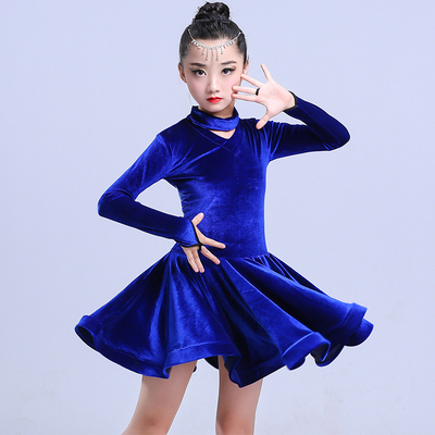 Girls Latin Dance Dresses Children's Latin dance skirt Latin practice clothes long sleeve gold velvet girls Latin dance performance clothes thickened