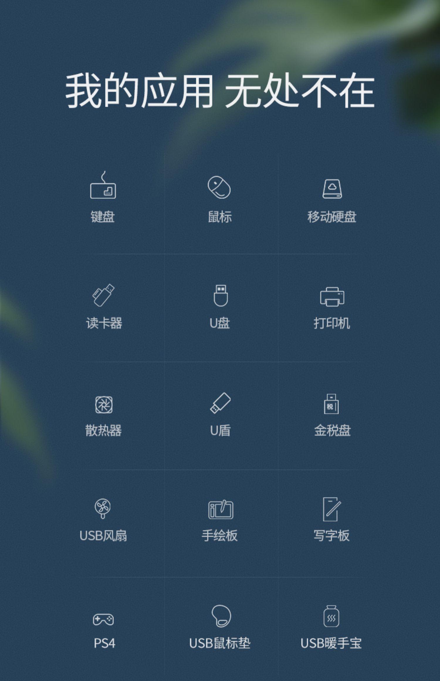 绿联usb3.0扩展器2.0分线器多接口一拖四插口u盘外接带供电口hub集线器通用苹果华为小米笔记本台式机电脑商品详情图