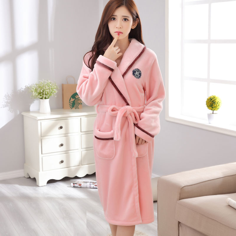 4de4735742 ... Flannel XL Women s Spring and Autumn Winter Nightgown Thick Bathrobes  Couple Long-Sleeved Coral Velvet