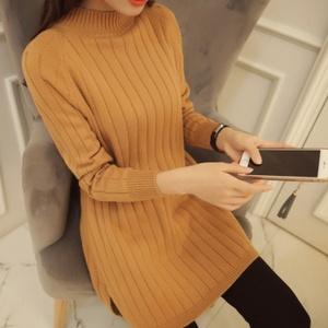 2018新款秋冬季韩版中长款半高领开叉毛衣修身套头打底毛针织衫女