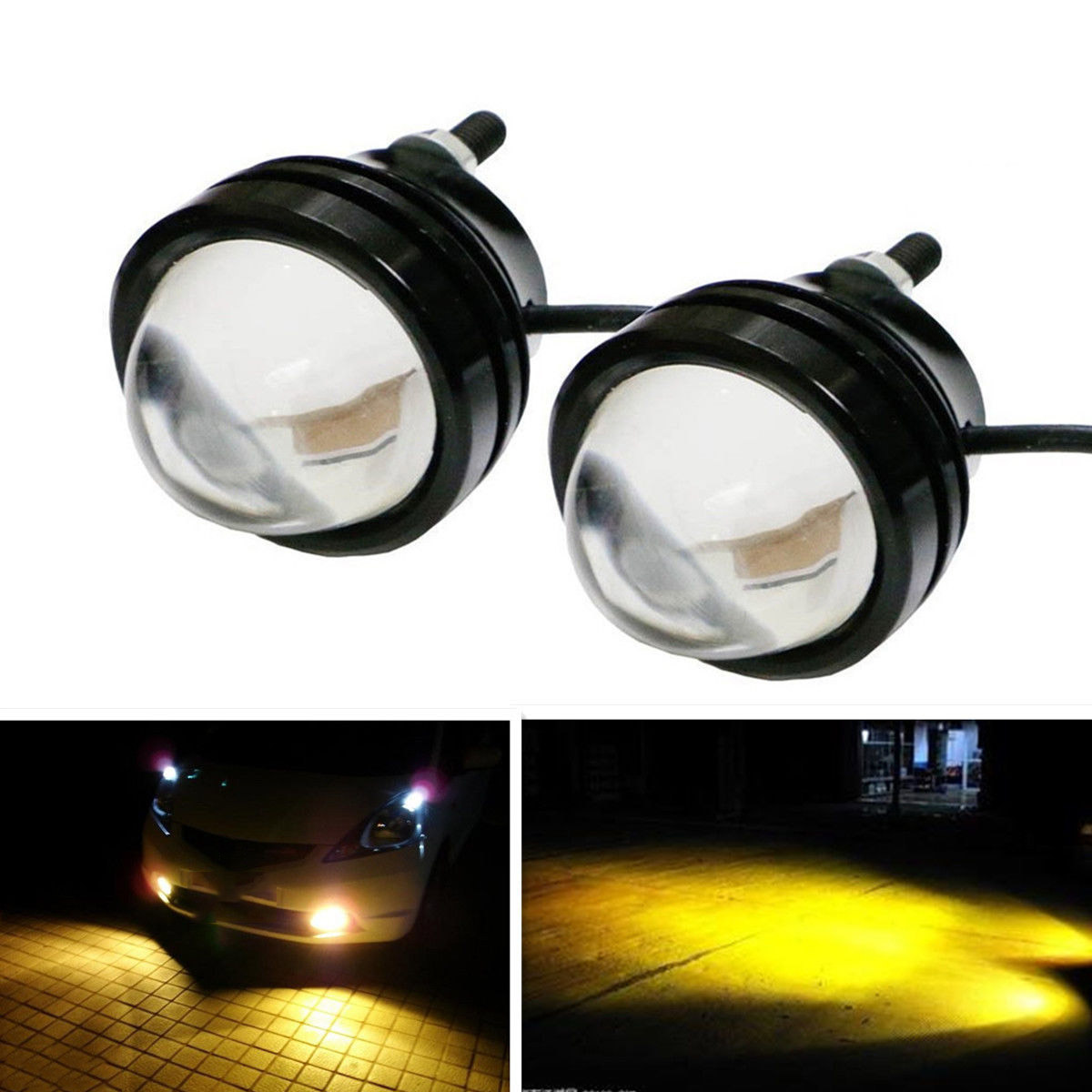 2x high power car golden eye yellow 5w led projector fog for Mirror micro projector