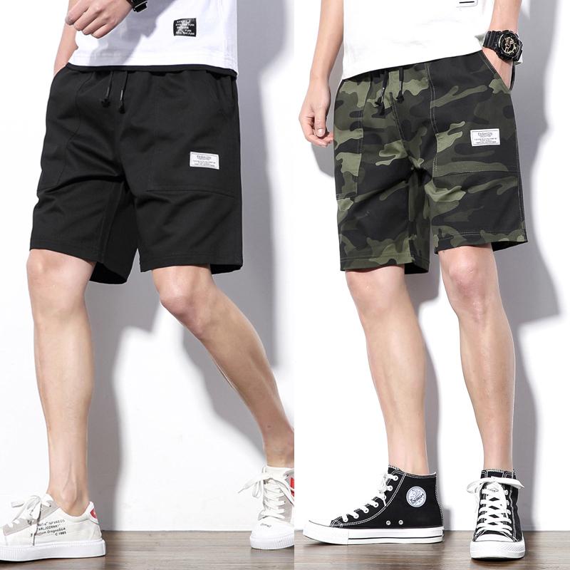 纯棉短裤男迷彩五分裤休闲裤沙滩裤