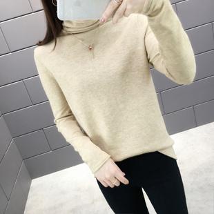 新款森女系女装韩版宽松打底衫套头堆堆领针织衫高领毛衣