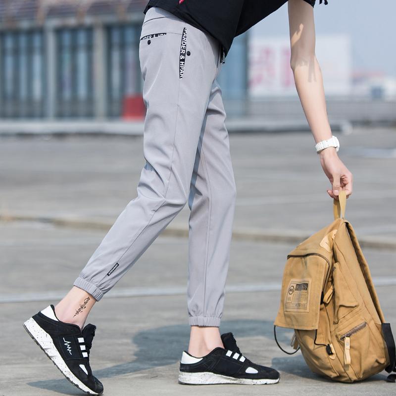 夏季薄款运动裤春秋修身九分裤小脚裤哈伦裤裤子男韩版潮流休闲裤