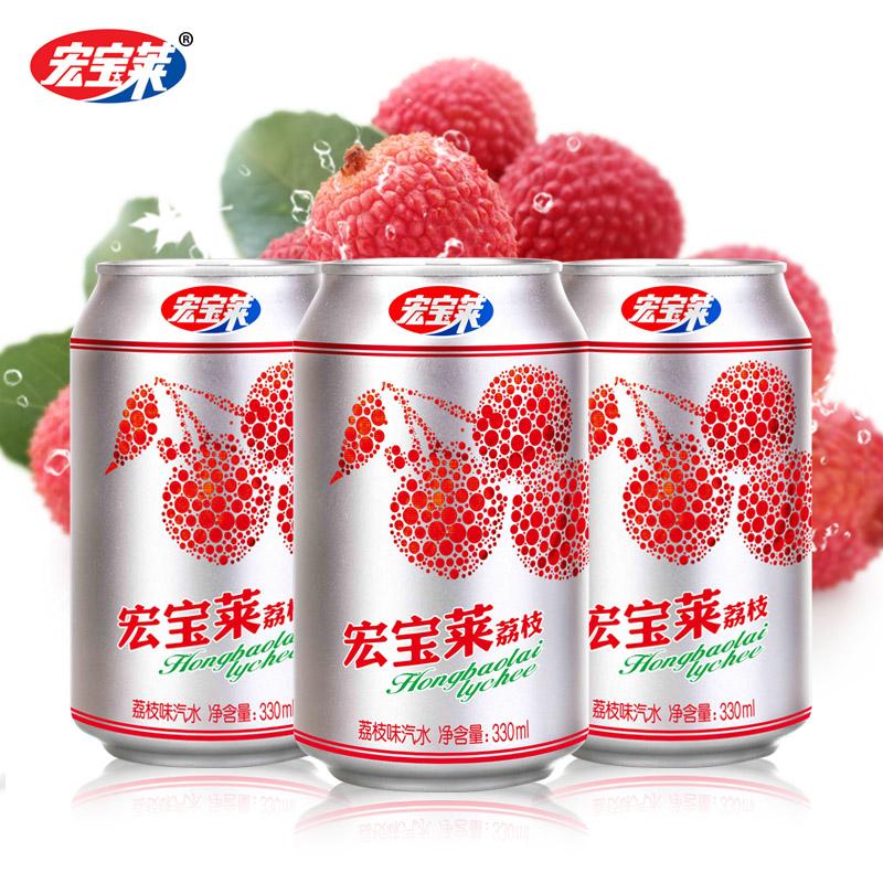 宏宝莱【荔枝味汽水】整箱12罐