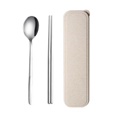 筷子盒勺子套装304不锈钢餐具三件套叉子收纳学生便携上班族筷勺