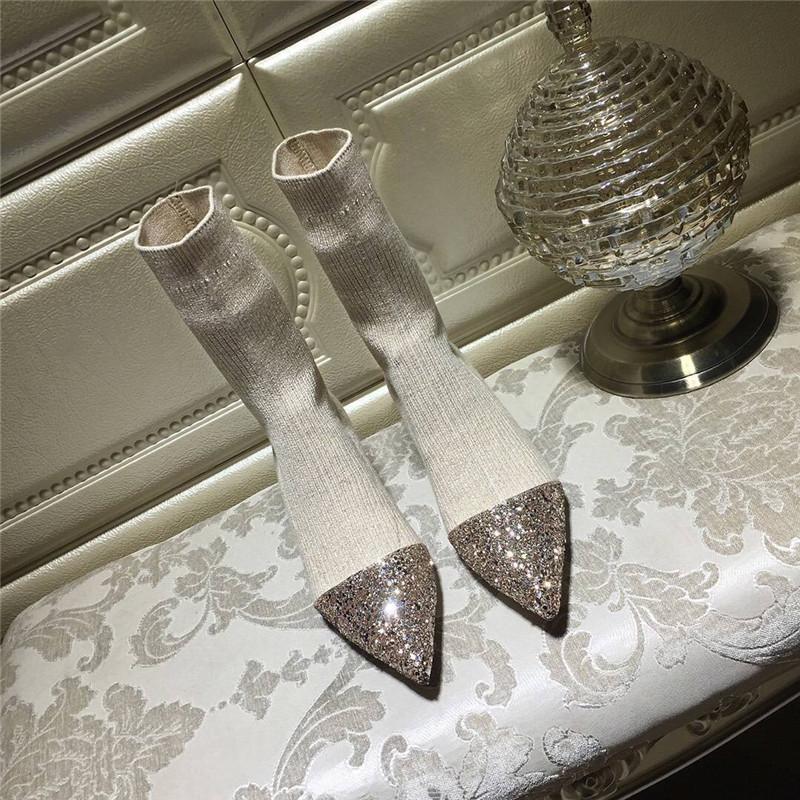 Европа и америка новые товары осень и зима трубка эластичность шерстяной вязание носок ботинки точно с наконечник носки обувь женская в среде ботинки женщина