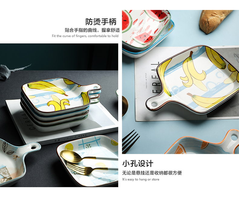 Creative lovely web celebrity oven bake paella pan ceramic household with handle tableware ins 0