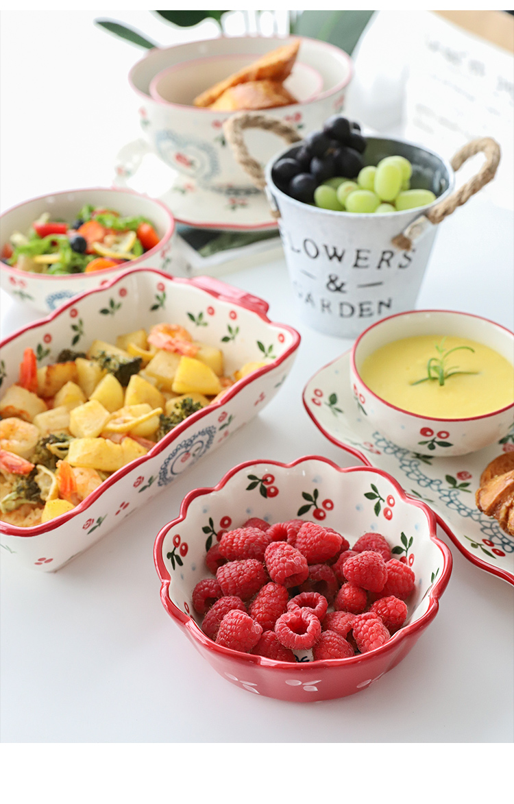 Japanese cherry rural wind ceramic tableware household dish dish dish fish dish rice bowls salad bowl of beef noodles in soup