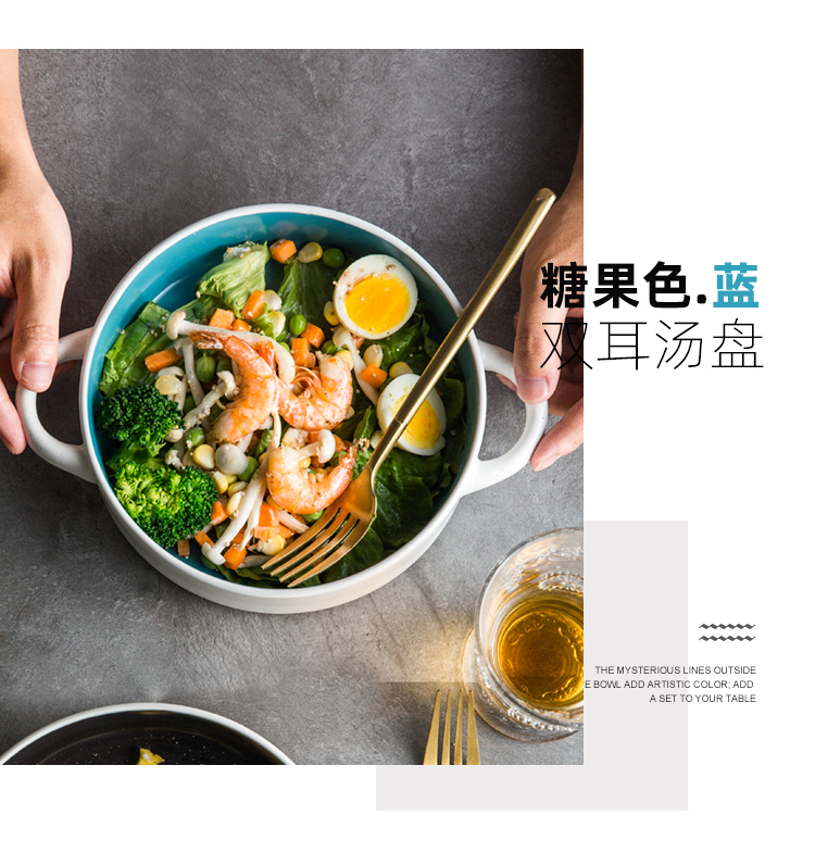 Ears ceramic creative Ears shallow bowl bowl individual household web celebrity soup plate Nordic salad bowl contracted with Ears