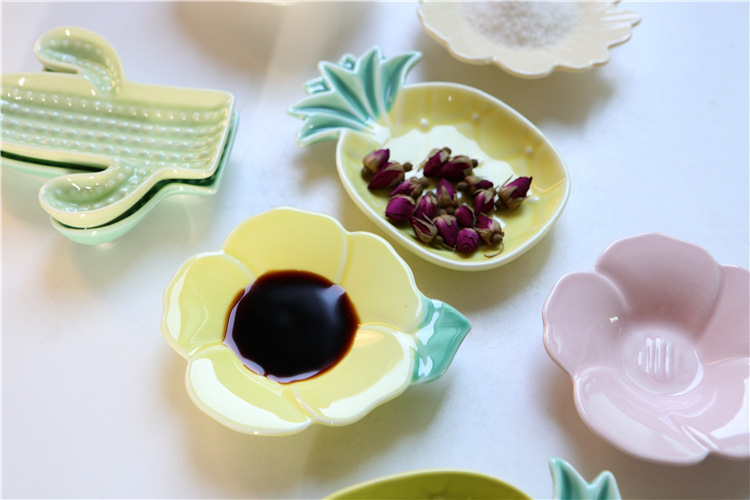 Nordic ceramic creative flavour dish flower small dishes pineapple vinegar dish of pickles sauce dish home dishes move