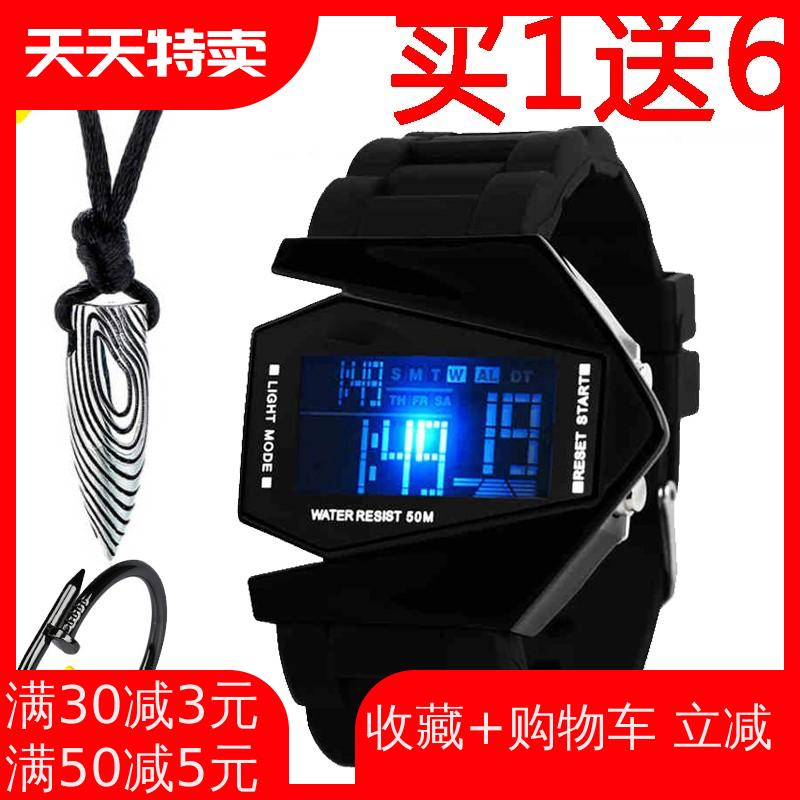 多功能led手表男学生黑科技初中高中生闹钟电子表运动潮