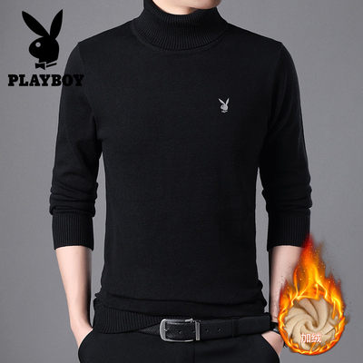 Playboy plus fleece turtleneck sweater men 2020 autumn and winter knit sweater solid color warm men's bottoming shirt