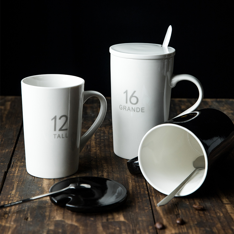 ins马克杯带盖勺喝水杯子陶瓷杯情侣创意简约牛奶杯早餐杯咖啡杯