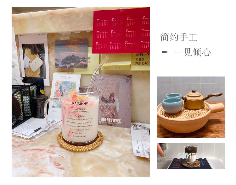 越南秋藤手工编织家用藤编杯垫隔热垫茶道茶杯茶壶垫子碗垫盘垫详细照片