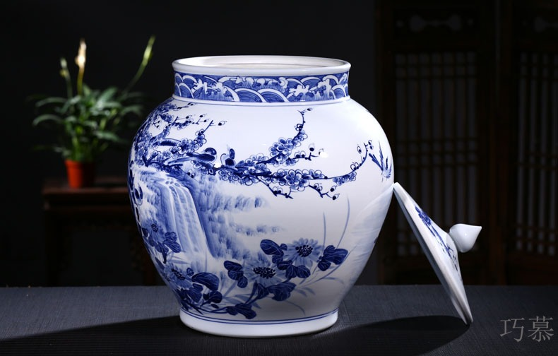 Qiao mu jingdezhen ceramic barrel ricer box storage tank hand under glaze blue and white color tea cylinder adornment ornament porcelain altar